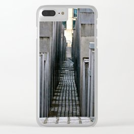 The Holocaust memorial at the Brandenburg Gate in Berlin Clear iPhone Case