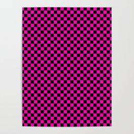 Bright Hot Neon Pink and Black Racing Car Check Poster