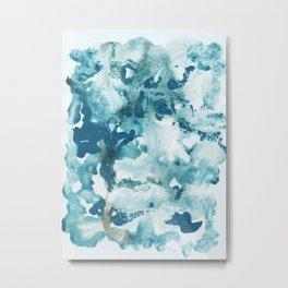 Blue Ocean Ink Abstract #1 #minimal #ink #art #society6 Metal Print