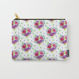 Be Happy, Be Bright, Be You - Pink flowers Carry-All Pouch