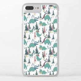 Dinosaur Hygge Clear iPhone Case