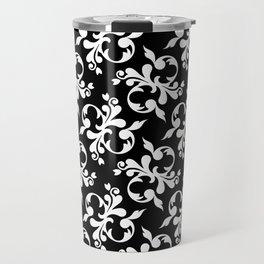 Elegant Black and White Victorian Pattern II Large Travel Mug