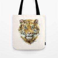 tiger Tote Bags featuring Tiger // Strength by Amy Hamilton