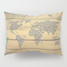 Metallic Foil Map on Oak Pillow Sham