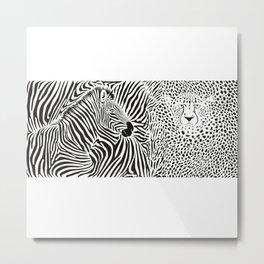 Wild animal background - template with zebra and cheetah motif Metal Print