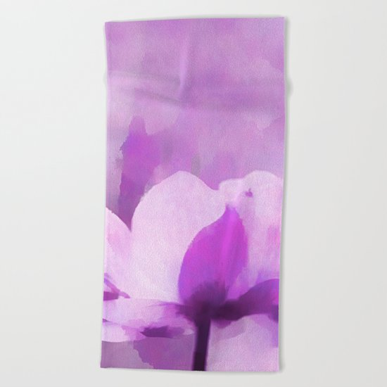 Abstract Painting Anemone Flower Purple Beach Towel
