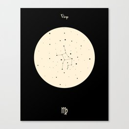 Virgo - Black Canvas Print