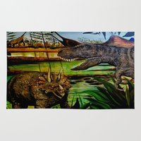 dinosaurs Area & Throw Rugs featuring DINOSAURS by shannon's art space