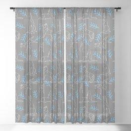 Siberian Husky Pattern Sheer Curtain