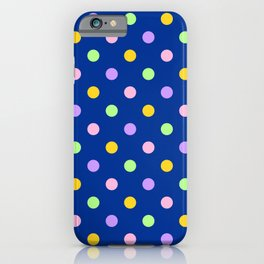 Dots - pastel on navy iPhone Case