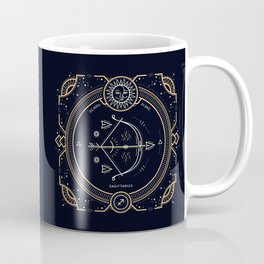 Sagittarius Zodiac Golden White on Black Background Coffee Mug