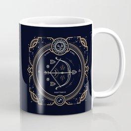 Sagittarius Zodiac Golden White on Black Background Coffee Mug