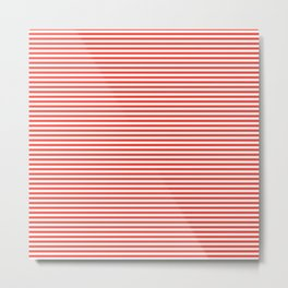 Even Horizontal Stripes, Red and White, XS Metal Print