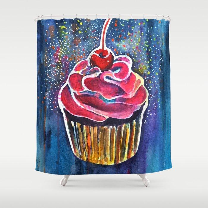 Rainbow Cupcake Shower Curtain