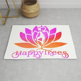 sunset happy trees pink and orange watercolor yoga pose and lotus art v2 Rug