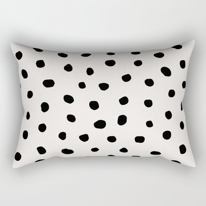 Modern Polka Dots Black on Light Gray Rectangular Pillow