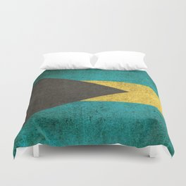 Old and Worn Distressed Vintage Flag of Bahamas Duvet Cover
