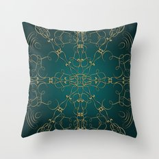 Gold Teal Mandala Throw Pillow