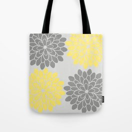 Big Grey and Yellow Flowers Tote Bag
