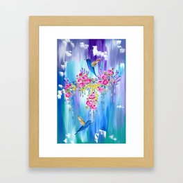 Roses and Hummingbirds in Love Framed Art Print