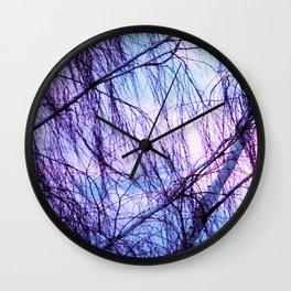 Black Trees Periwinkle Lavender Sky Wall Clock