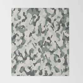 Army Camouflage Pattern Snowy Forest Throw Blanket