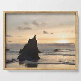 Arcadia Beach Sunset Lion Rock Oregon Coast Pacific Ocean Serving Tray