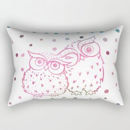 Owls - pink and blue Rectangular Pillow
