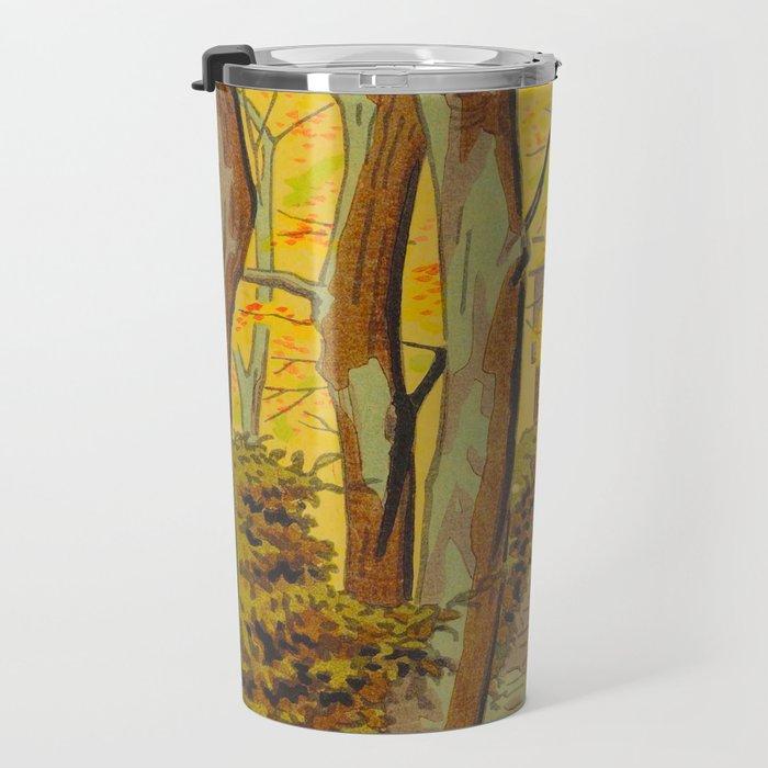 Asano Takeji Japanese Woodblock Print Vintage Mid Century Art Autumn Trees Shinto Shrine Travel Mug