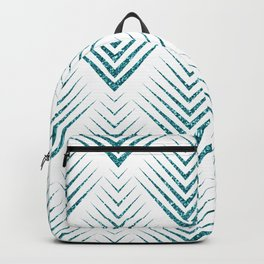 Art-deco Turquoise & White Geometric Patern Backpack