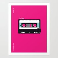 cassette Art Prints featuring Cassette  by JFE ILLUSTRATIONS
