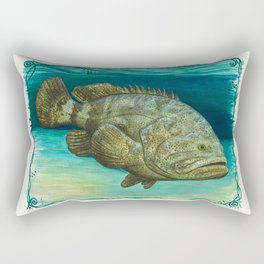 """Goliath Grouper"" by Amber Marine ~ Watercolor Painting, (Copyright 2015) Rectangular Pillow"