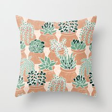 Succulent's Tiny Pots Throw Pillow