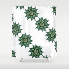 green kaleidoscopic pattern background Shower Curtain