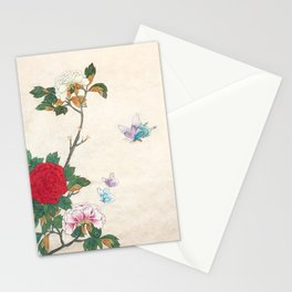 Minhwa: Peony and Butterflies (Korean traditional/folk art) Stationery Cards