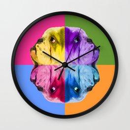 English Bulldog Pop Art portrait. Wall Clock
