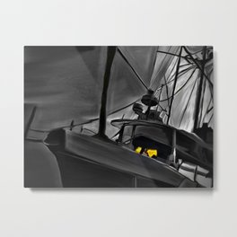 The black and white boat Metal Print