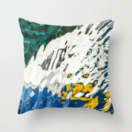 Yellow Blue Green Abstract Throw Pillow