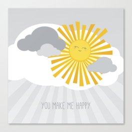 KAWAII SKY - smiling sun in grey clouds - you make me happy Canvas Print