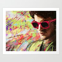 darren criss Art Prints featuring Colourful Darren Criss by Ines92