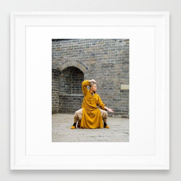 Monk at the Grreat Wall Framed Art Print