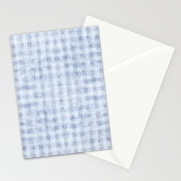 Pale Foam Blue Gingham Faux Suede Design Stationery Cards