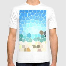 Abstract Geometric Background Mens Fitted Tee MEDIUM White