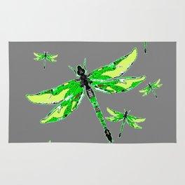 EMERALD GREEN  SWAMP DRAGONFLIES GREY ART Rug
