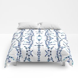 Vines Kaleidoscope (blue on white) Comforters