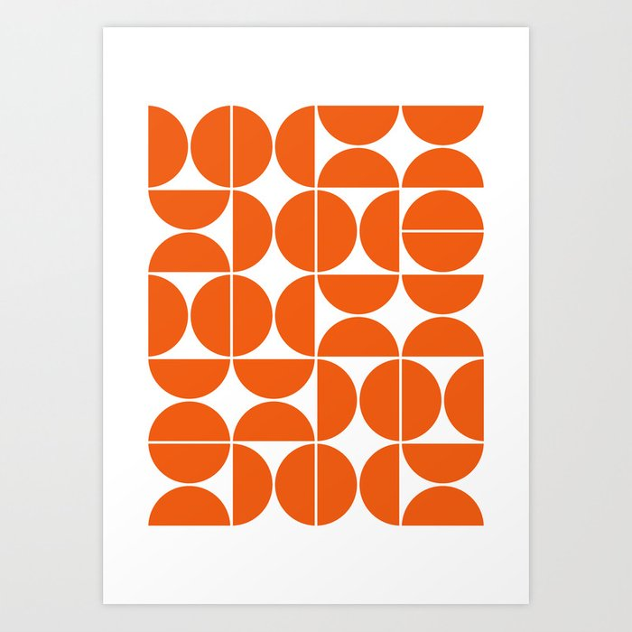 Mid Century Modern Geometric 04 Orange Art Print