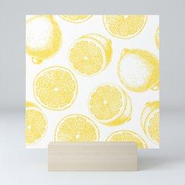 Hand drawn lemon pattern Mini Art Print