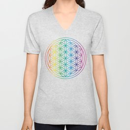Flower Of Life Rainbow Sacred Geometry Unisex V-Neck