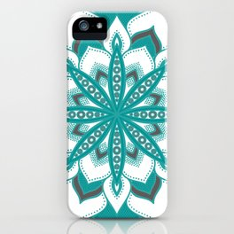 Teal Gray Mandala Flower iPhone Case