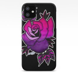 Neo-traditional Style Purple & Hot Pink Rose iPhone Case